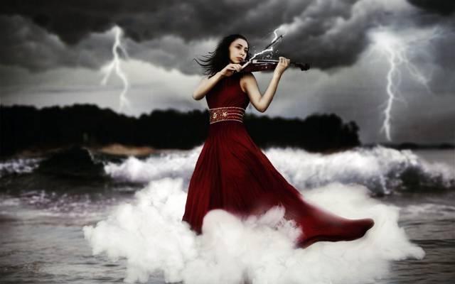 闪电,女孩,小提琴,音乐