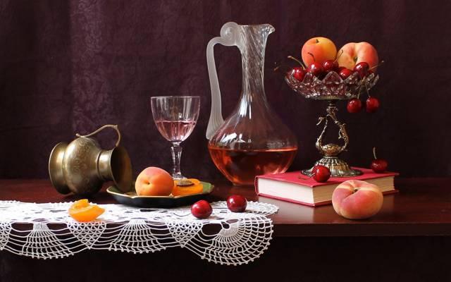 花瓶,表,滗水器,桃子,书,静物,水果,樱桃