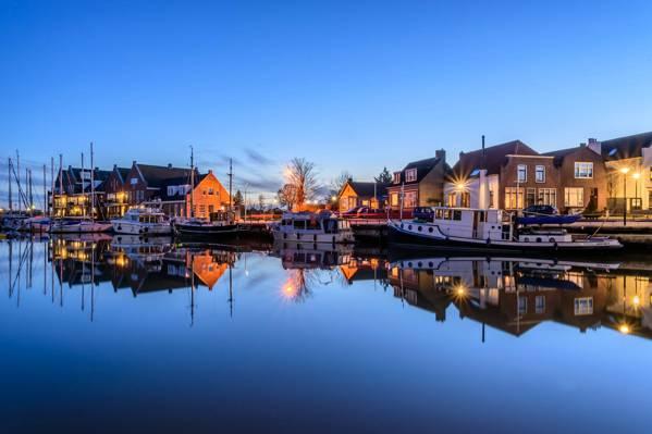 船,游艇,家,灯,欧德 - 通吉,荷兰,晚上,港口