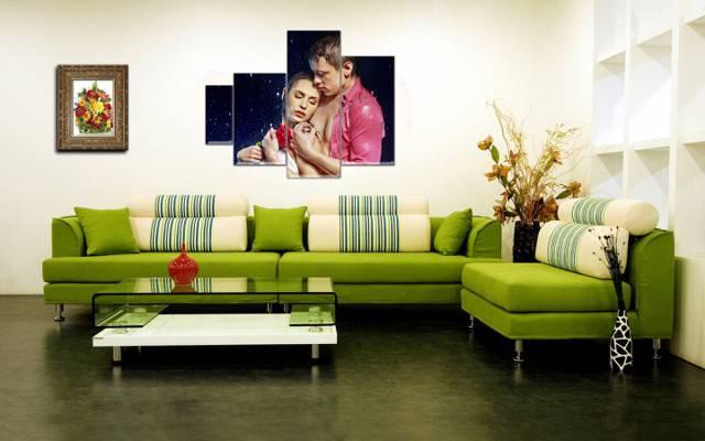 花瓶,沙发,鲜花,polyptych,表,图片,室内装饰