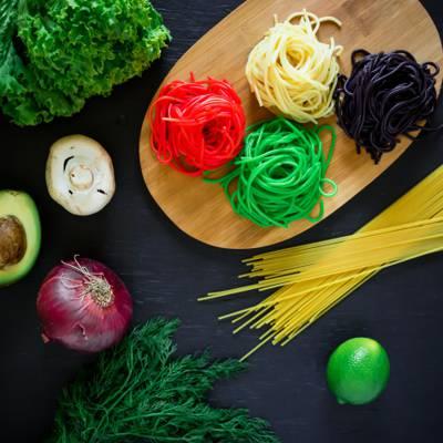 弓,石灰,面食,食品,意大利面条,颜色,意大利,蔬菜,鳄梨,莳萝