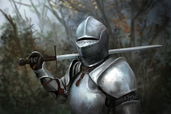 武器,骑士,艺术,头盔,盔甲,树,刀片,叶子,剑,金属,森林