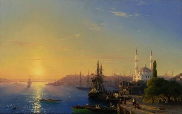君士坦丁堡,码头,建筑,城市,港口,海,船,帆船,建设,Aivazovsky,图片,船舶,光,清真寺,...