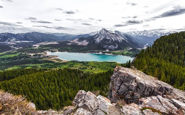 加拿大,湖,山,障壁湖,加拿大,艾伯塔省,森林