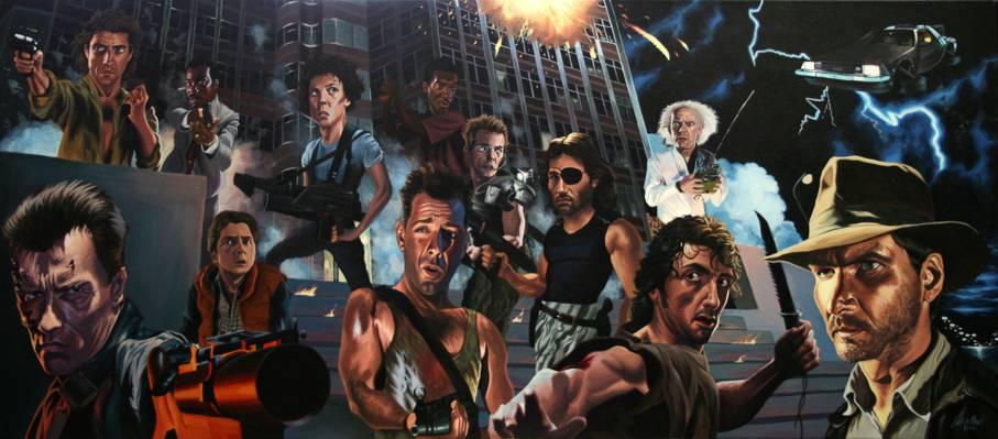 80年代的英雄,兰博,回到未来,强Oreshek,终结者,印第安纳琼斯