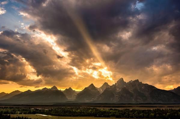 光线,美国,洛矶山脉,山谷,怀俄明州,云,天空,河,森林