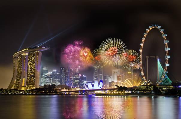 摩天,度假,烟花,轮子,新加坡,城市,酒店,夜晚,新加坡,天空,烟火