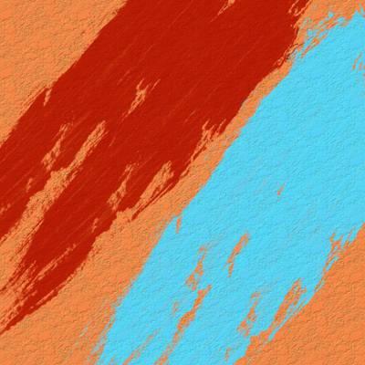 橙色,蓝色和红色彩绘墙高清壁纸