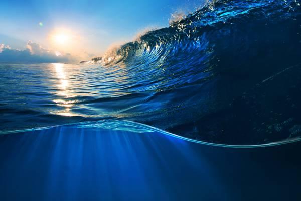 波,波,蓝色,海,海,飞溅,水,海洋,海洋,天空,日落