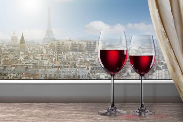 窗口,巴黎,埃菲尔铁塔,酒,红色,窗帘,城市,眼镜,窗台,云