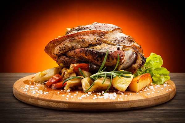 土豆,香料,肉,板,蔬菜