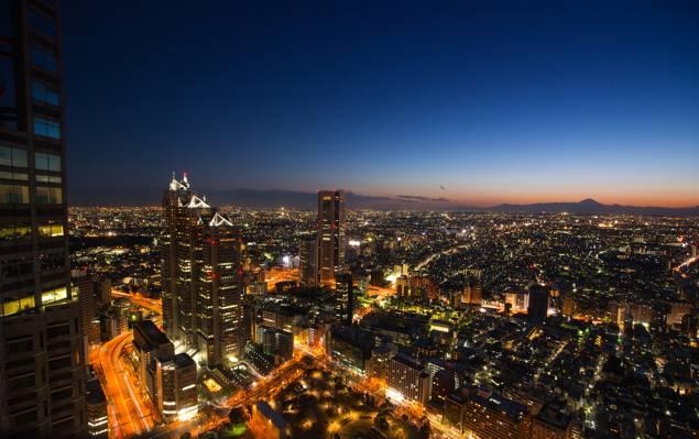 摩天大楼,megapolis,照明,全景,日本,灯,首都,晚上,查看,蓝色,东京,天空,建筑,...