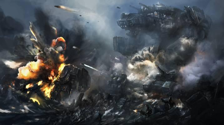 战斗,巨人,艺术,爆炸,士兵,岩石,机器人