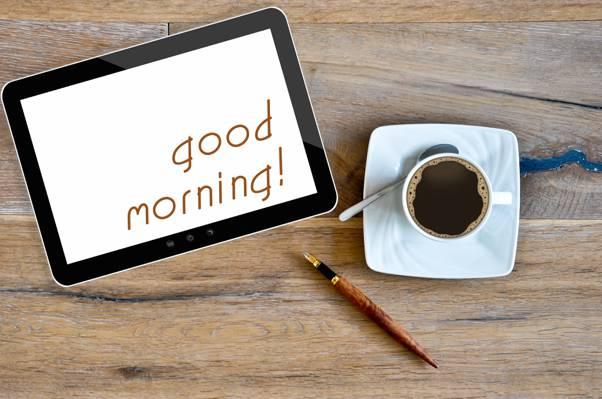 杯,咖啡,早上好,咖啡
