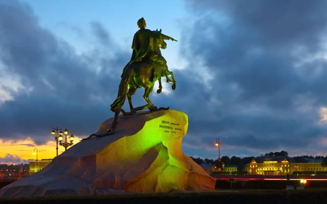 青铜骑士,晚上,圣彼得堡