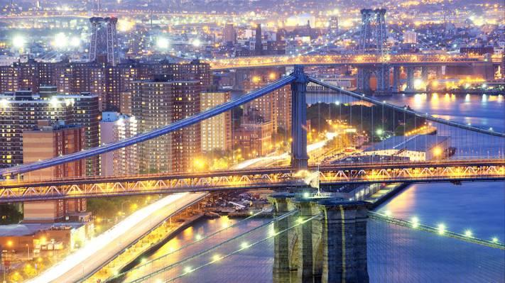 壁纸纽约,桥梁,布鲁克林,纽约,曼哈顿,城市,摘录,灯,晚上,美国