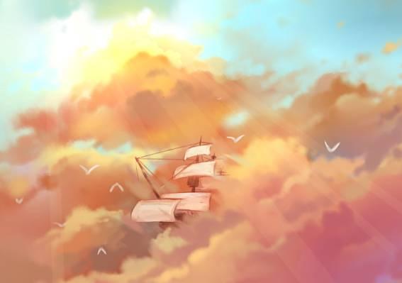 桅杆,天空,太阳的光线,车轴,鸟,艺术,帆船,飞行,粉红色的云,...