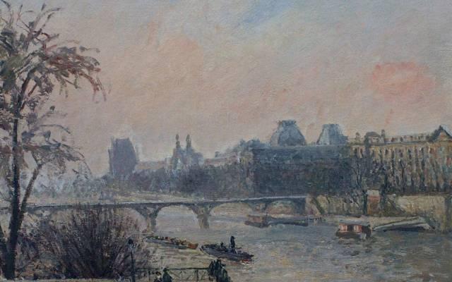 壁纸卡米耶·毕沙罗,河,塞纳河和卢浮宫,巴黎,桥,城市景观,图片