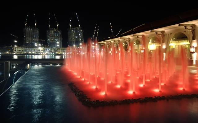 在夜间喷泉,新加坡高清壁纸的照片