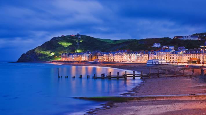 山,家,岸,阿伯里斯特威斯,灯,海,夜,威尔士,海滨长廊