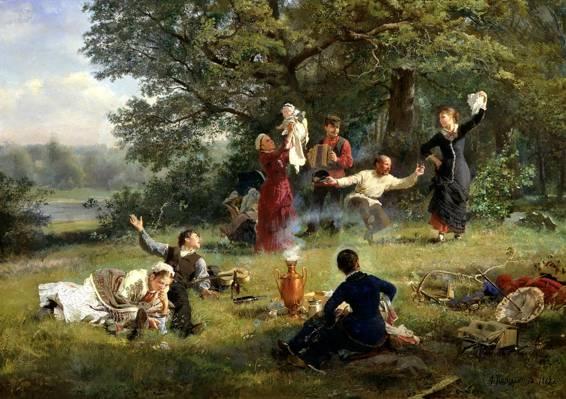图片,画布,自然,情况,绘画,人,野餐,星期天,Korzukhin,手风琴