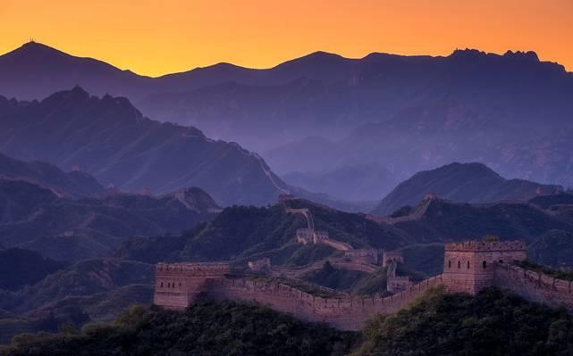 中国,中国的长城,山