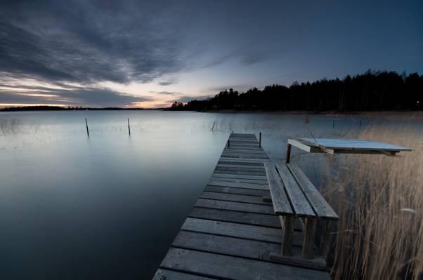 桥,板凳,树,岸,瑞典,木,湖,晚上,云,天空,森林,日落