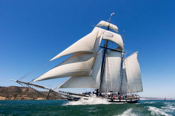 加利福尼亚州,帆船,海,加利福尼亚州,风帆,湾圣地亚哥,高船加州,帆船,加州,圣地亚哥...