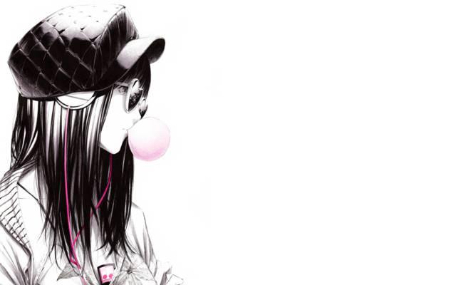 泡沫,Sawasawa,艺术,耳机,球员,帽,眼镜,女孩
