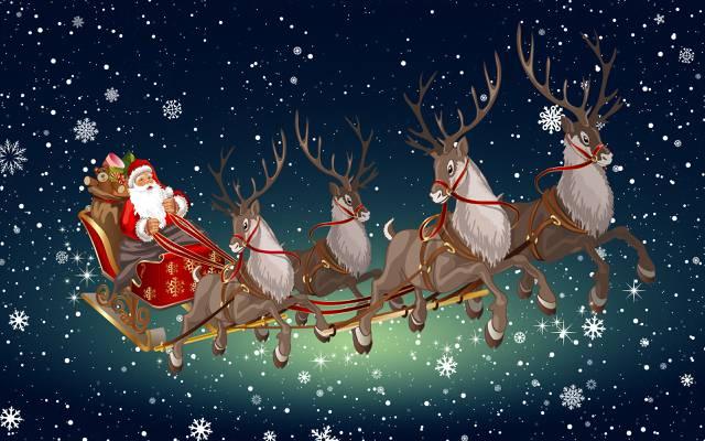 背景,心情,鹿,圣诞老人,极简主义,冬天,新的一年,雪橇,雪,圣诞老人