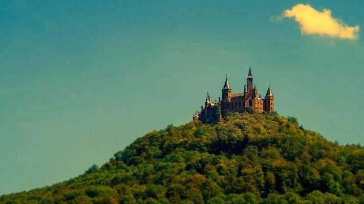 山,墙,德国,树木,Hohenzollern城堡,塔,天空,森林