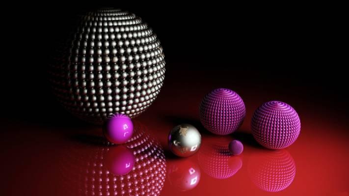 壁纸球,球,红色背景