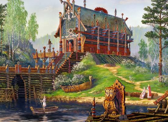 船,艺术,绘画,Vsevolod伊万诺夫,寺,俄罗斯民间传说,晚春,斯韦托维德寺,斯拉夫语,...