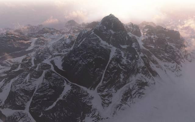 阴霾,雪,艺术,山,峰,脊,云
