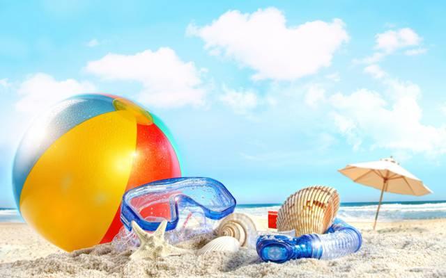 云,沙滩,沙滩,海,球,沙,海,贝壳,夏天,天空,天空,自然,云