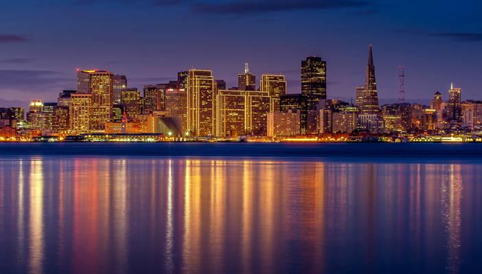 摩天大楼,反思,旧金山,加利福尼亚州,照明,湾,城市,灯,晚上,丁香,建设,家,...  -