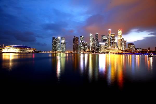 摩天大楼,反射,湾,海岸,灯,水,夜,新加坡