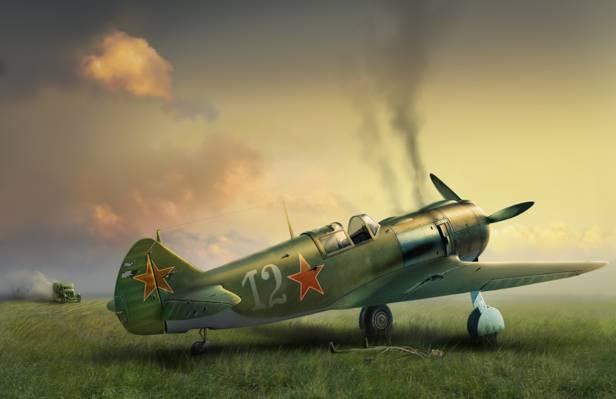 壁纸救护车,战争后,战斗,拉,5,艺术,单引擎,苏联,战斗机,返回,损坏,领域,飞机,...  -
