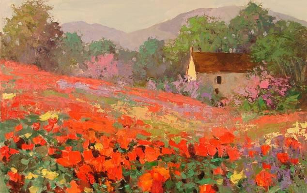 花,真希,房子,领域,景观