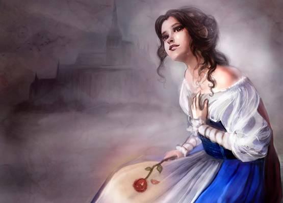 美女与野兽,贝儿,美女与野兽,红玫瑰,美女,连衣裙,城堡