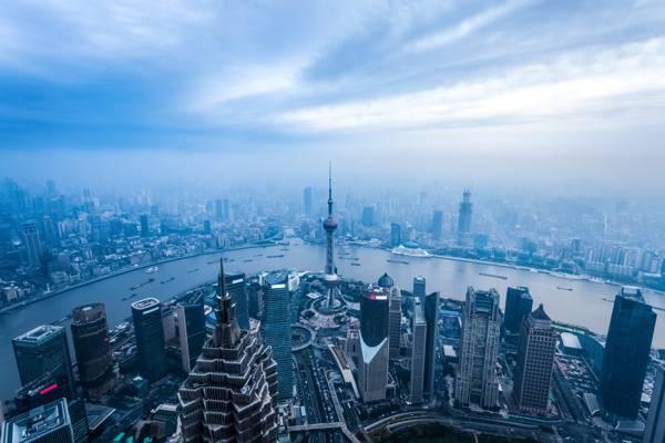 上海,河,中国,蓝色,全景,家,雾,从顶部的看法,摩天大楼,megapolis
