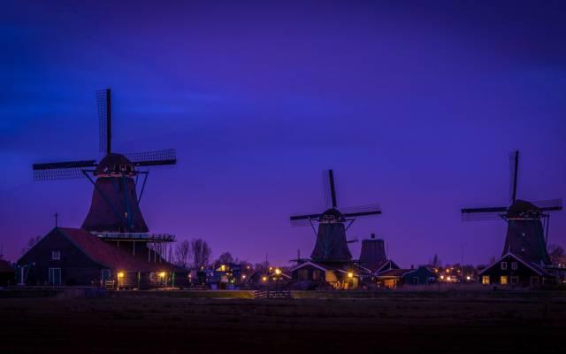 村庄,荷兰,风车,晚上,家,Zaanse Schans