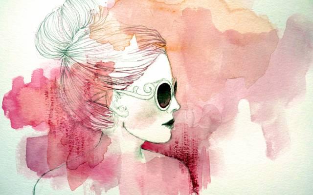 风格,图,油漆,女孩,艺术,眼镜,配置文件