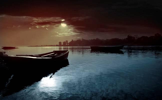 自然,月亮,小船,水,夜,云彩,天空,河,风景