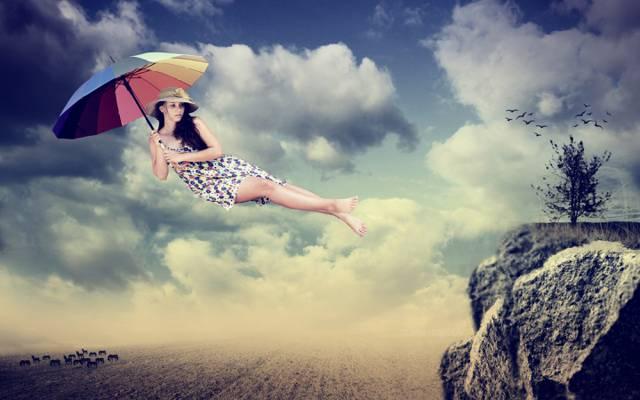 伞,飞行,女孩