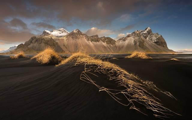 冰岛,石头,山,海滩,山