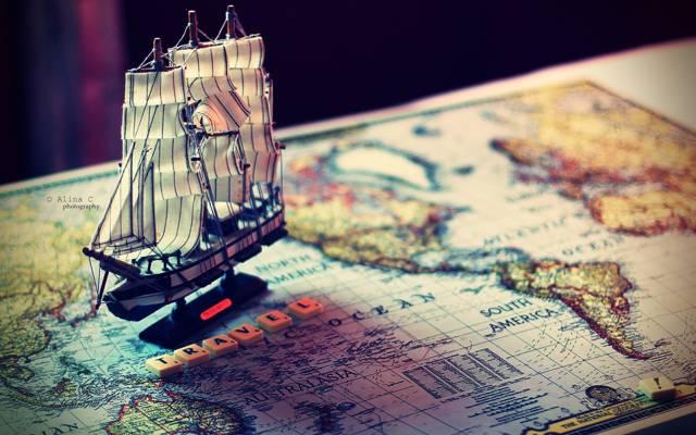 船,船,单词,旅程,船,心情,心情,旅行,模型,地图