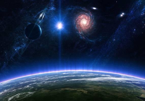 表面,星系,星,环,行星,空间,气氛