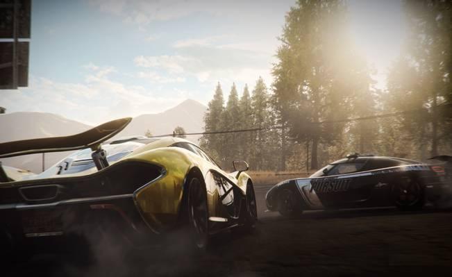超级跑车,迈凯轮P1,比赛,极品飞车,达罗加,烟雾,科尼赛克,森林