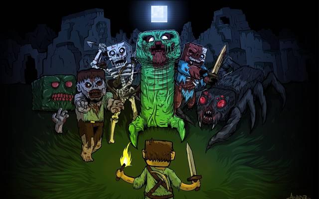 爬行者,爬虫,我的世界,我的世界,僵尸,僵尸